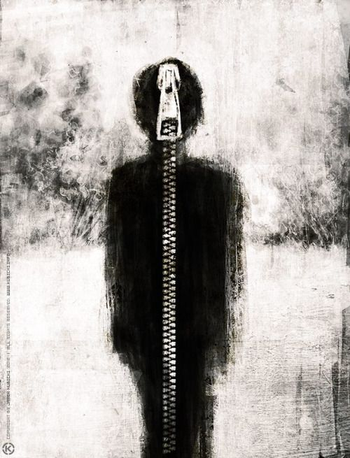 'Speedpainting 4 by  polish Jarek Kubicki' An expressive work of art, about the lack of ability to express your inner zipped up personality. Notice Even the title lacks expression.