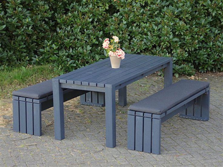 Gartenmöbel Set 3 Holz, Mit Polstern, Farbe: Anthrazit Grau
