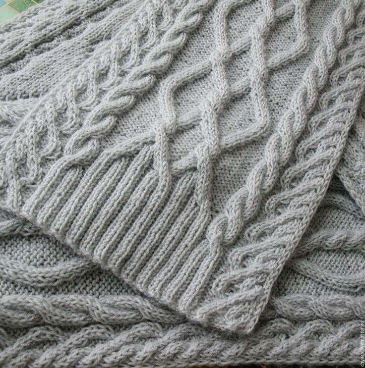 """Купить """"Скандинавия"""" светло-серый шарф вязаный из шерсти норки. Резерв. - шарф скандинавия"""