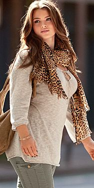 #curvy #plussize #taralynn love this casual look with the neutrals and leopard scarf. Spam in comments not from me