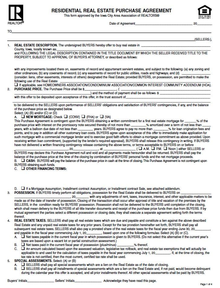 Fsbo Purchase Agreement Iowa Clean Download Iowa Residential
