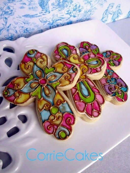 Corrie Cakes Stained Glass Cross Cookies