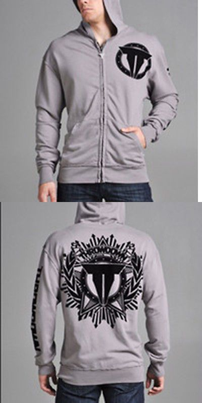 Hoodies and Sweatshirts 179770: Throwdown By Affliction Silver Zip Up Hoodie - 2Xl -> BUY IT NOW ONLY: $44.95 on eBay!