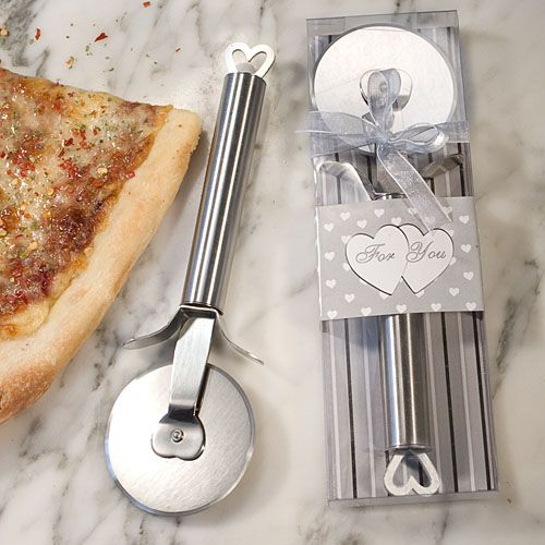 These unique heart design stainless steel pizza cutter wedding favors are a real slice of heaven! When the moon hits your eye like a big pizza pie - that�s amore! And it�s sure to be love when your guest lay there eyes on these playful but useful pizza cutter wedding favors. Each features sturdy stainless steel construction with heart design details at the tip of the handle and at the center of the circular blade. Size: 8 �� x 2 �� x ��Details: From the �Amore Stainless Steel� collection…