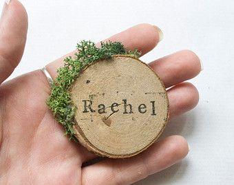 Tranche de bois et les cartons mousse / / une seule Place Carte - Message pour quantités personnalisées / / Rustic Outdoor mariage / / mise en Place / / Escort Cards