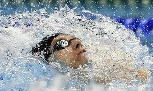 United States' gold medal winner Ryan Murphy competes in the men's 200-meter backstroke final.