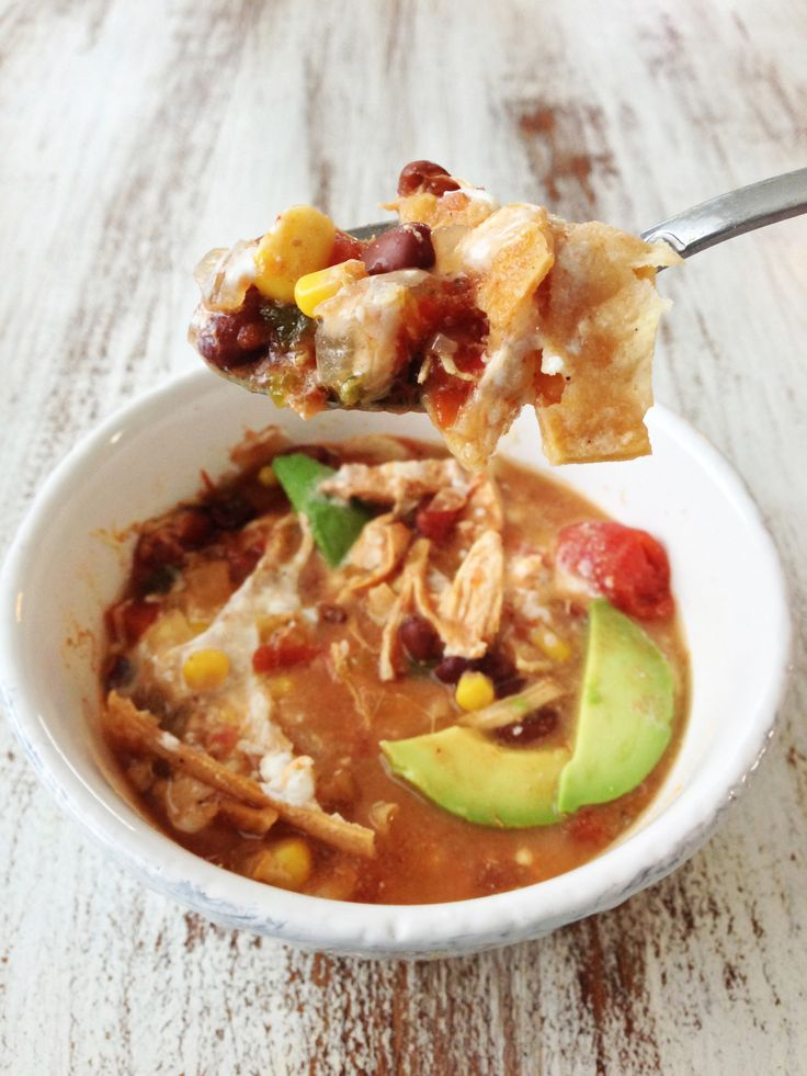 This is amazing! Healthified Crock Pot Chicken Tortilla Soup — The Skinny Fork