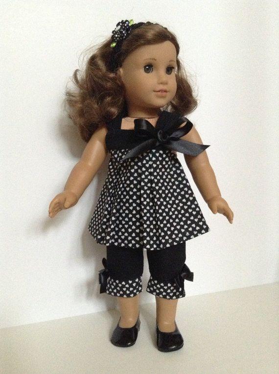 18-inch American Girl Doll Clothes - Capri Pants, Black/White Heart Top & Matching Hair Band