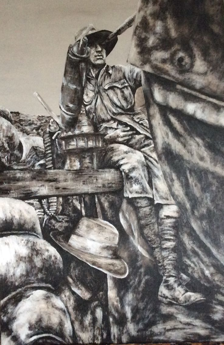 """""""Gallipoli Trenches 1915"""" part of Centenary Collection by Paula Benson 2016. Acrylic on canvas."""
