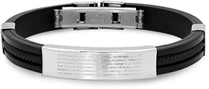 FINE JEWELRY Mens Stainless Steel Lords Prayer in Spanish Id Bracelet