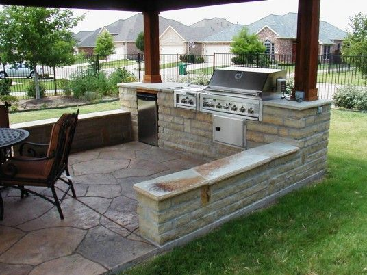 848 best images about outdoor kitchens on pinterest for Outside barbecue area design
