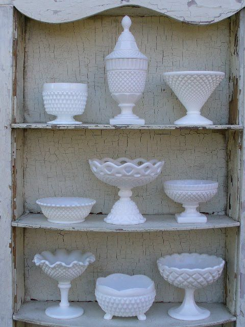 Milk glass collection.