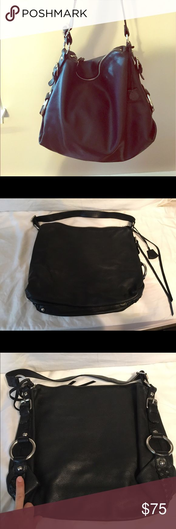 Banana Republic black leather bag Black genuine leather bag with logo interior and silver hardware. Banana Republic Bags Shoulder Bags