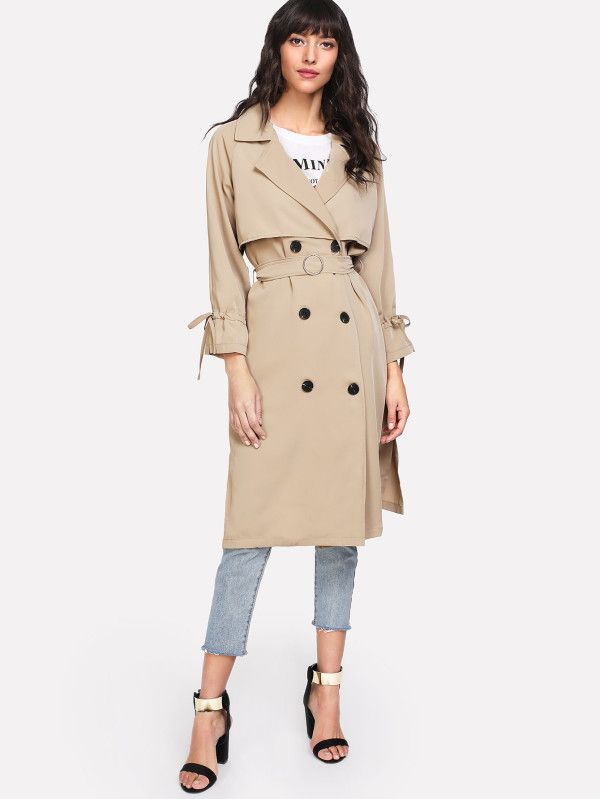 Shop Drawstring Cuff Self Tie Trench Coat online. SheIn offers Drawstring Cuff Self Tie Trench Coat & more to fit your fashionable needs.