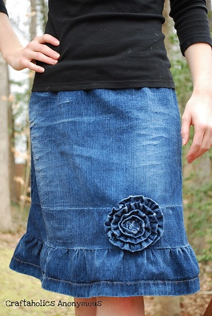 Jean skirt revamp: I have skirt very similar to the original of this. Can't wait to try this!!