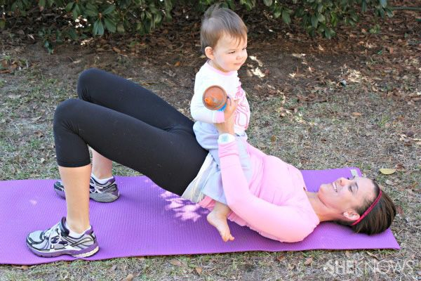 glute bridge with baby, exercises to do with your baby/toddler