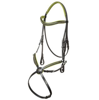 Baccarat Grackle Bridle. Black leather figure 8 grackle bridle with olive green padding. Green crystals on brow and nosebands with white stitching on nose piece.