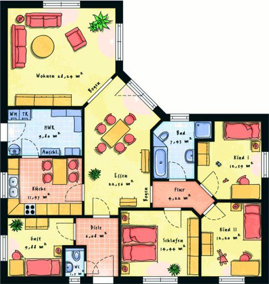 Bungalow grundrisse 5 zimmer mit garage  97 besten Grundrisse Haus Bilder auf Pinterest | Grundrisse ...