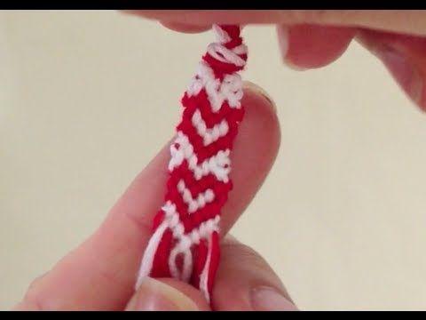 簡単!ミサンガ ハートの編み方 how to make heart patterns of friendship bracelets - YouTube