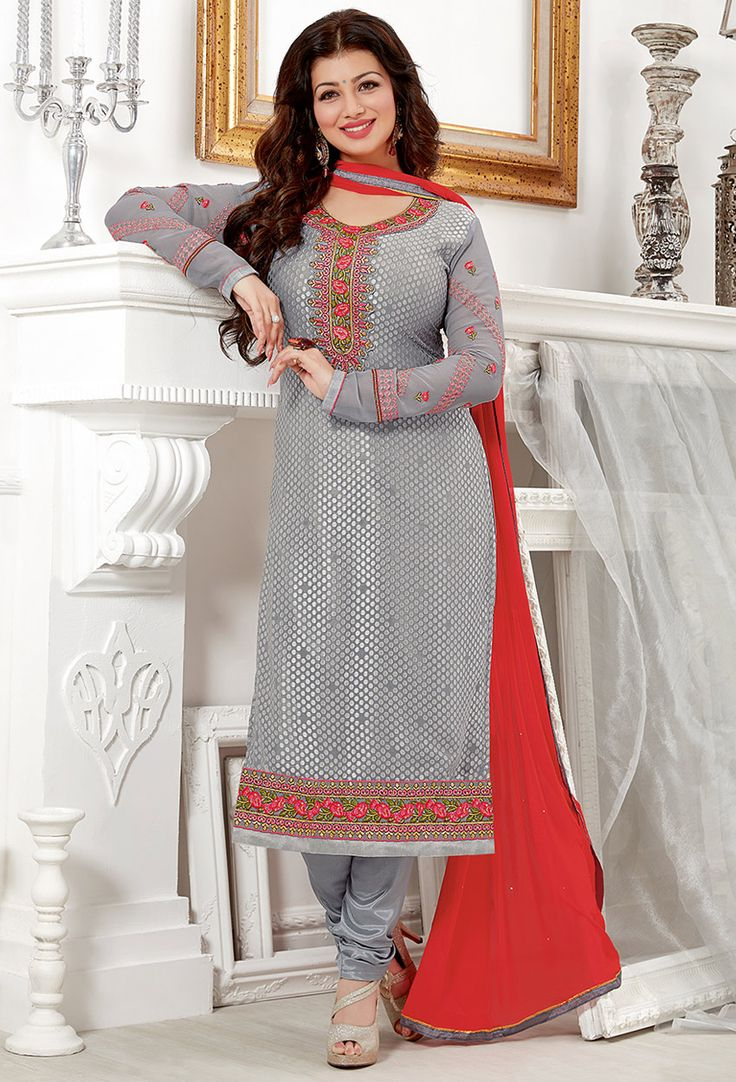 Ayesha Takia In #Gray Georgette #Straight Cut #Suit #nikvik  #usa #designer #australia #canada #freeshipping #kamiz
