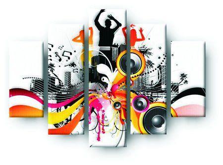 DecoArt24.pl  Pięcioczęściowy obraz na płótnie zatytułowany Electric freeflow Dance.  Autorstwa: James Thew Cena 299.00 PLN ---------------- #art #artpainting #painting #abstraction #inspiration #interior #interiordesign #decoart24