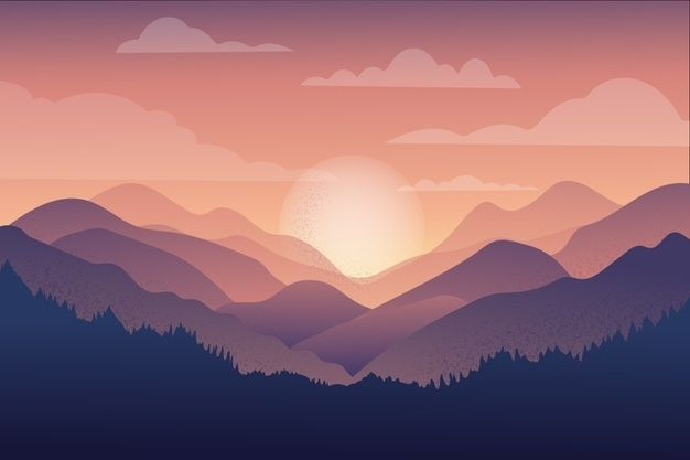 Beautiful Mountain Chain Landscape At Sundown Aesthetic Desktop Wallpaper Landscape Illustration Sky Aesthetic Cool mountain backgrounds for computer