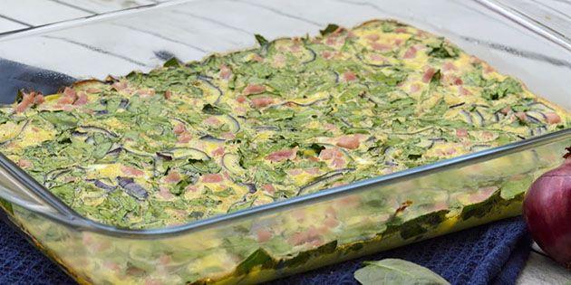Æggekage med spinat og skinke i ovn