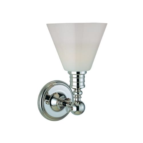 Modern Sconce Wall Light with White Glass in Polished Nickel Finish at Destination Lighting
