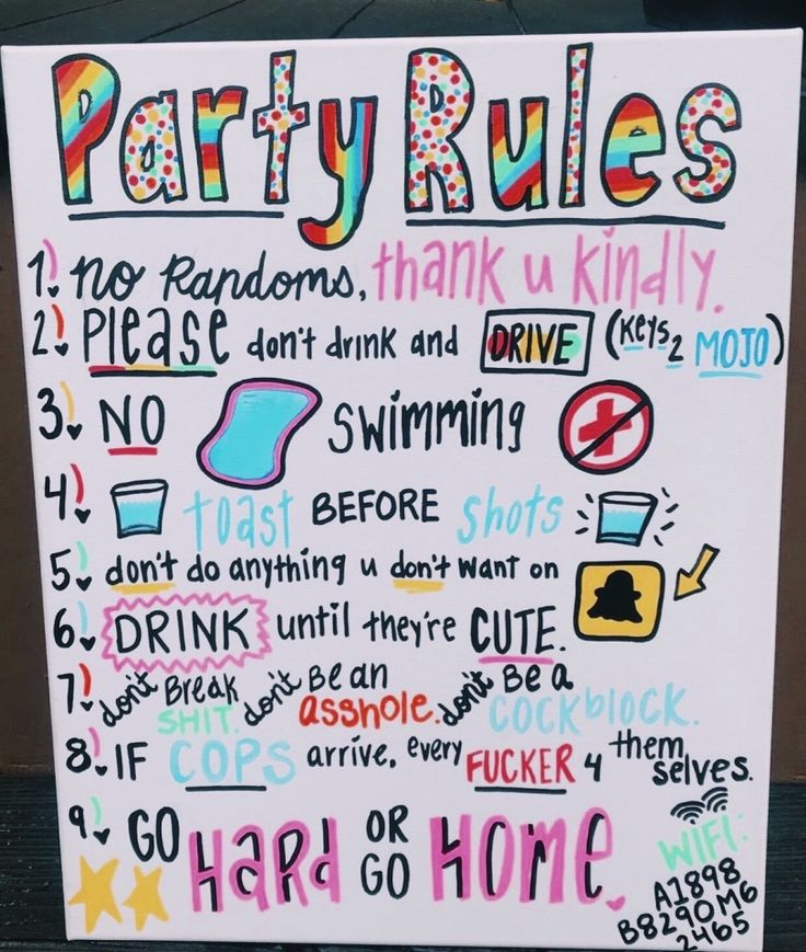 Party Rules Party In 2019 Party Rules Teen Party