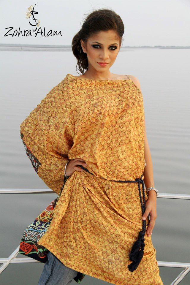 Amber One-Sleeve Silk Tunic
