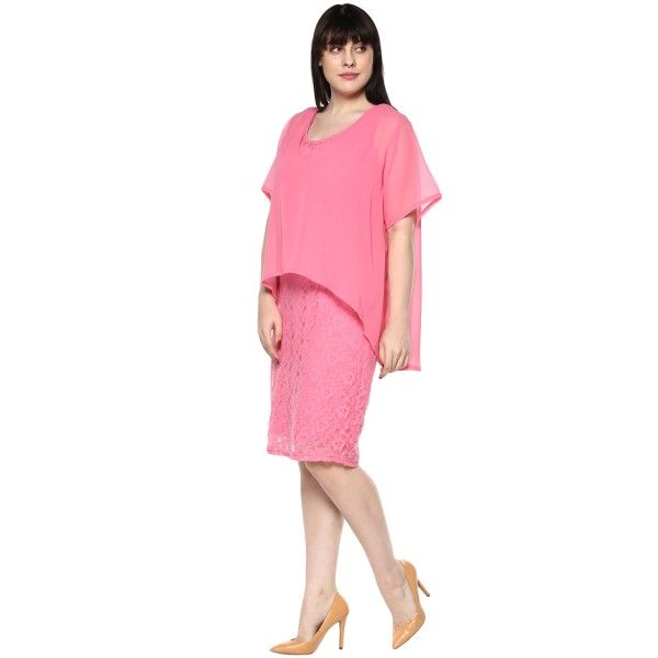 plus size pink layered dresses