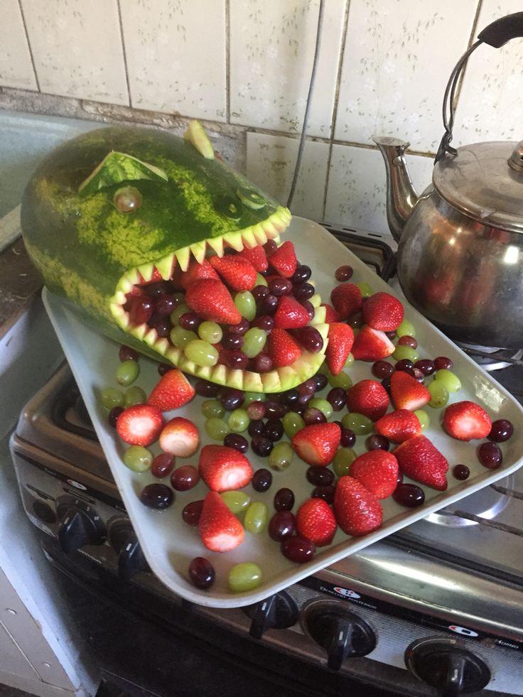 Dinosaurio de sandia para guardar fruta