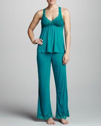 Eberjey Colette Racerback Camisole & Lounge Pants, Jade - Neiman Marcus