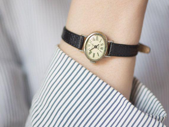 Oval woman's watch tiny wristwatch feminine accessory by SovietEra, $62.00