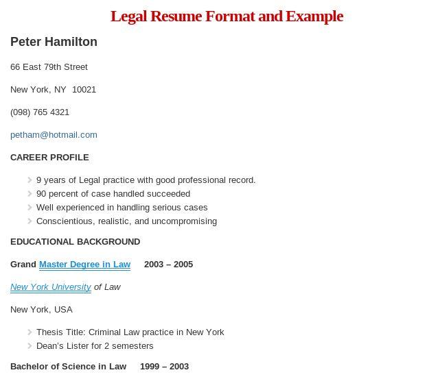 Sample Legal Resume Format Read more @    wwwresumeformatorg - erisa attorney sample resume
