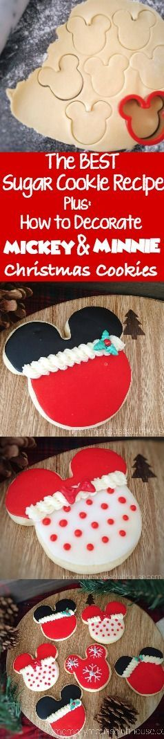 The BEST Sugar Cookies that are sweet, chewy, soft yet firm enough to be decorated. Simply delicious! Plus how to decorate Mickey Mouse & Minnie Mouse Christmas Cookies.