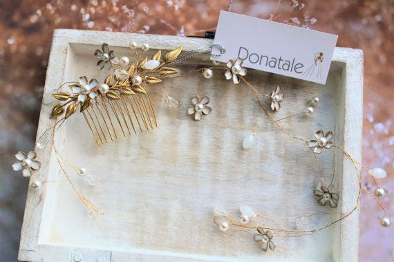 Bridal Headpiece,Leaf  Bridal Hair comb, Gold flower crown, Leaf hair vine, Ivory Floral crown, Wedding hair piece  - ANGELIQUE