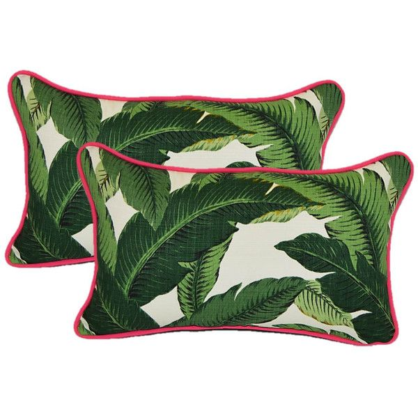 Set of 2 Tommy Bahama Green Tropical Swaying Palms Hot Pink Cording... (€57) ❤ liked on Polyvore featuring home, outdoors, patio furniture, decorative pillows, grey, home & living, home décor, gray rocking chair, tropical outdoor furniture and outdoor patio furniture