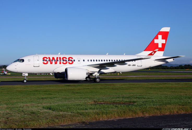 "Swiss Global Bombardier CSeries CS100 HB-JBB ""Canton de Genève"" taxiing to the terminal after arriving one hour late at Manchester-Ringway, August 2016. (Photo: Karl Nixon)"