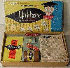 Yahtzee.  We played this for hours, and it was my grandparents favorite!  I can still hear the dice banging around in the cup!