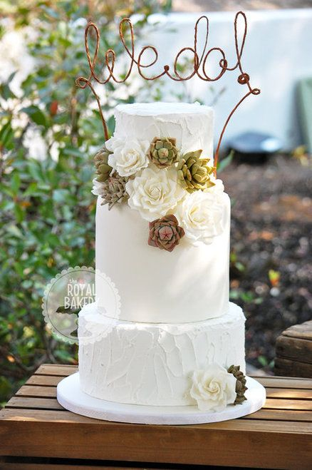 Roses and Succulents Wedding Cake