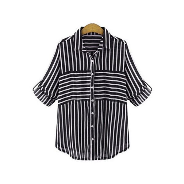 SheIn(sheinside) Black Lapel Striped Blouse ($15) ❤ liked on Polyvore featuring tops, blouses, black, striped blouse, stripe blouse, button blouse, collar blouse and black long sleeve top