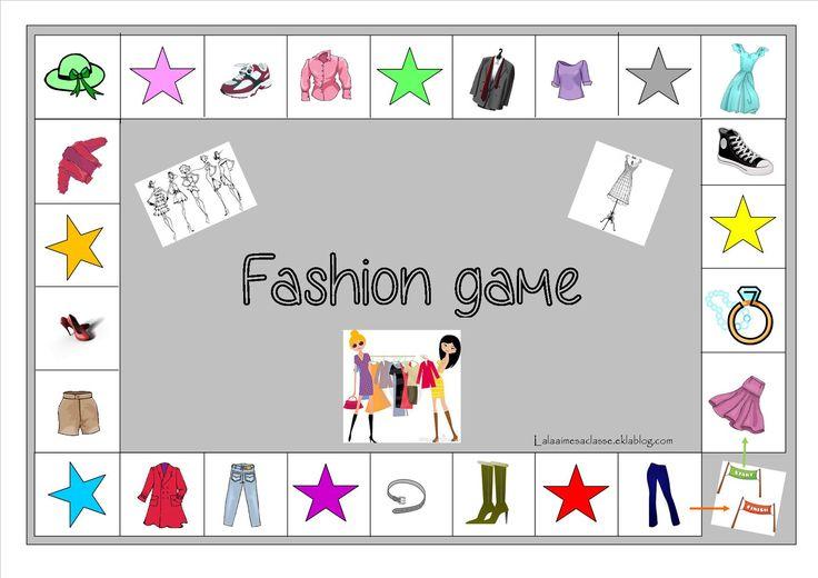 """jeu """"fashion game"""" sur les  vêtements et les couleur en anglais"""