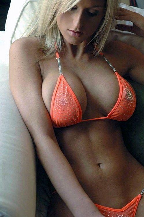 Blonde In A Orange Bikini - Tanning Girls  Skimpy Bikinis And Nice Bodies To Match-3661