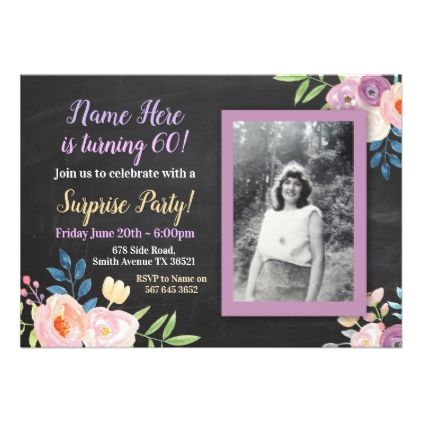 #Birthday Purple Flower Photo Chalk Invitation - #flower gifts floral flowers diy