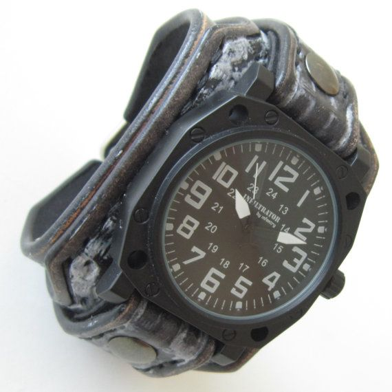Military watch Leather watch Cuff watch Leather by loversbracelets