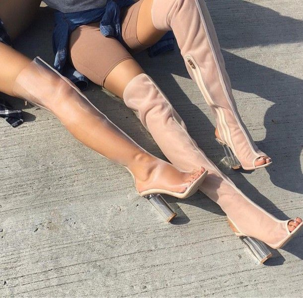 Shoes: heels thigh high boots thigh highs see through mesh peep toe boots clear transparent