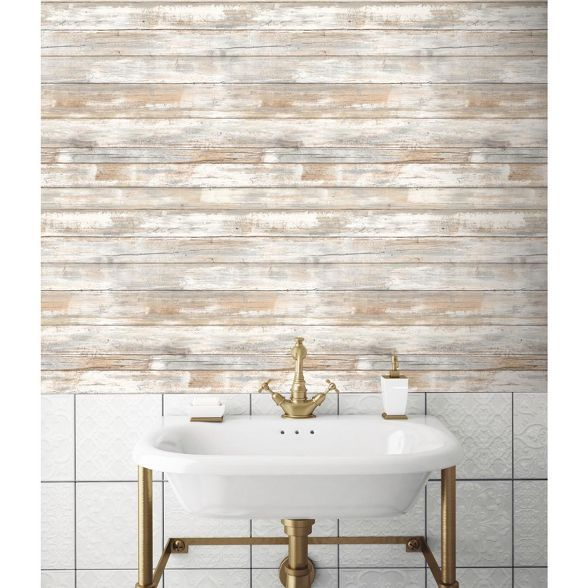 Roommates Distressed Wood Peel And Stick Wallpaper Tan In 2021 Distressed Wood Wallpaper Distressed Wood Wall How To Distress Wood