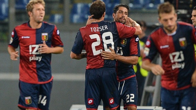 Marco #Borriello (Genoa CFC)  Marco Borriello of Genoa CFC celebrates with team-mates after scoring during the Italian Serie A match against S.S. Lazio