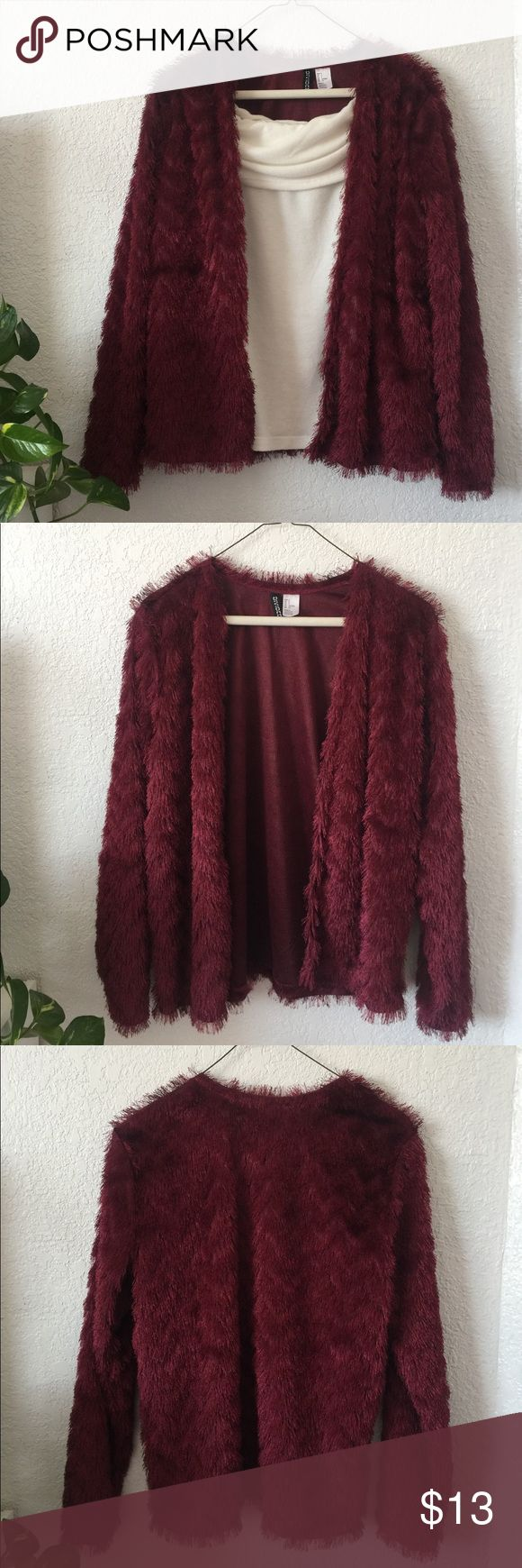 H&M Wine Fringe Coat Fringe coat, used a couple of times like new! It's not cotton so it's not warm, it can be used over a warm top during this weather. Perfect for New Years parties or 1920's inspired parties!    Size is small but it's a little bigger so it can fit a medium  Very glamorous ✨ Divided Jackets & Coats